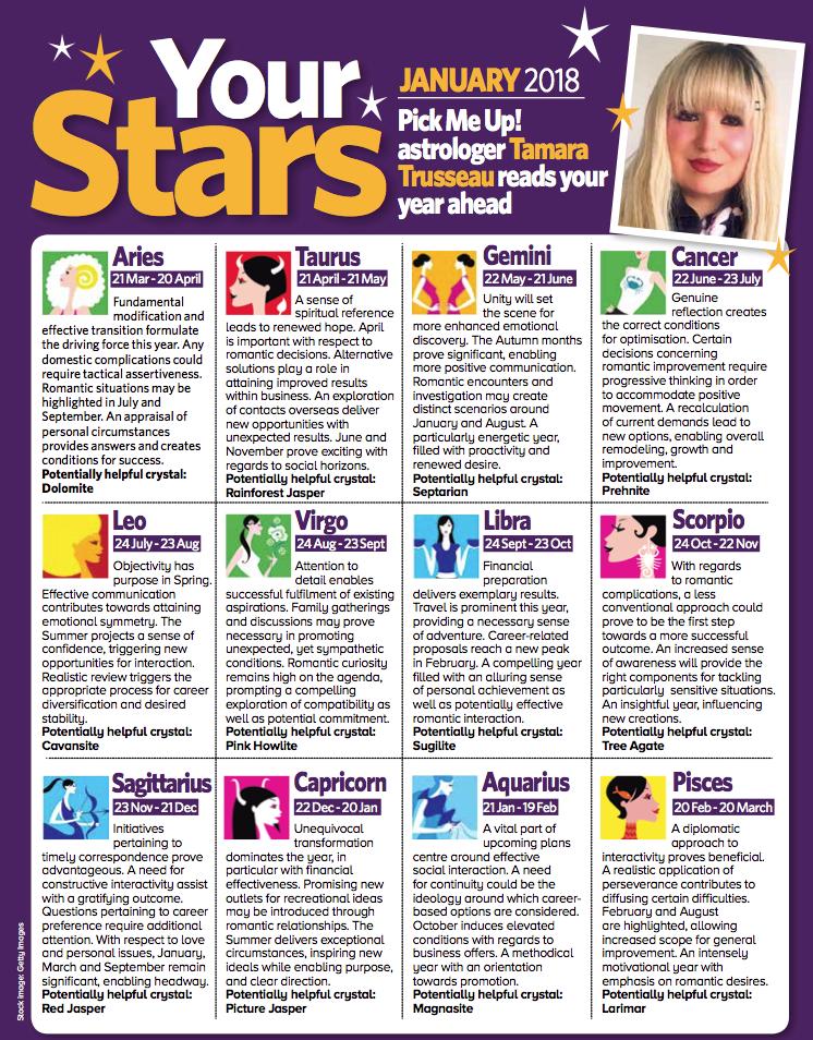 Pick Me Up Horoscopes 2018 — Tamara Trusseau